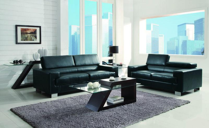 Homelegance Collection Color Black All Bonded Leather Vernon