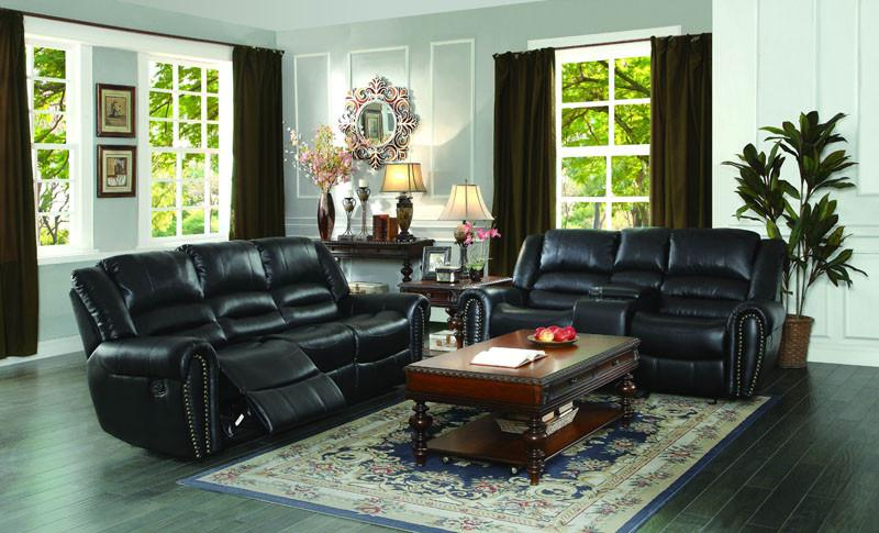 Homelegance Color Black Bonded Leather Match Center