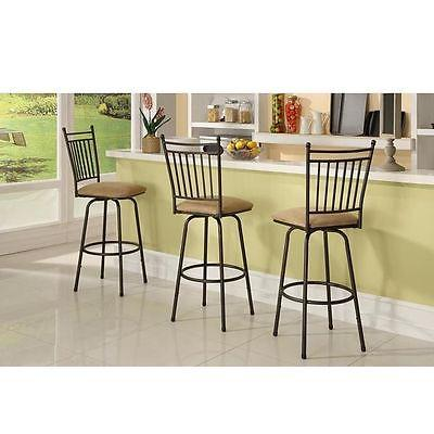 Linon 98130MTL-01-KD Set Of Three Adjustable Swivel Metal Stools
