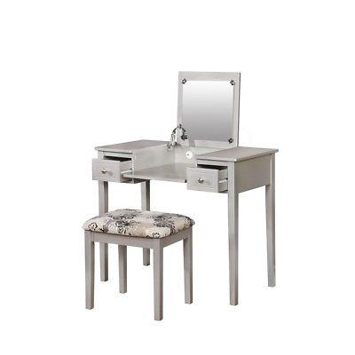 Linon 98135SIL01 Silver Butterfly Vanity And Stool