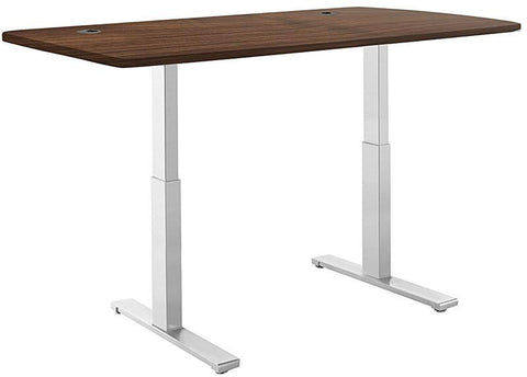 "Vifah A56-A10 SmartDesk Standing Desk with Electric Adjustble Height 28 - 46 inches, Grey Single Motor Frame - Walnut Classic Table Top size 53"" x 30"""
