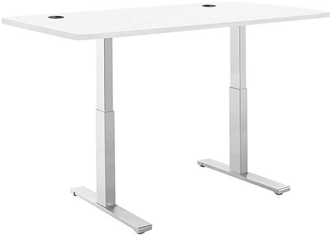 "Vifah A56-A12 SmartDesk Standing Desk with Electric Adjustble Height 28 - 46 inches, Grey Single Motor Frame - White Classic Table Top size 53"" x 30"""