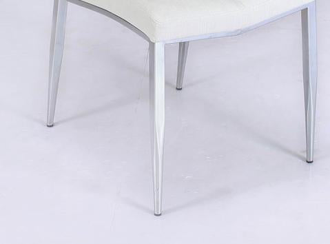 Chintaly ABIGAIL-SC-WHT-TX Side chair w/ chrome legs ( Set of 4 )