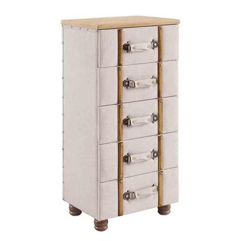 Linon AC105ALM01U Sarah Five Drawer Padded Chest Cabinet