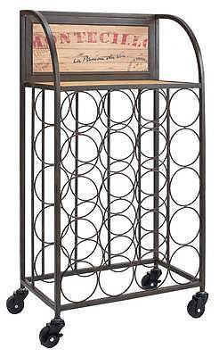 Bayden Hill AHW804AS1 Wood And Metal Wine Rack With Wheels