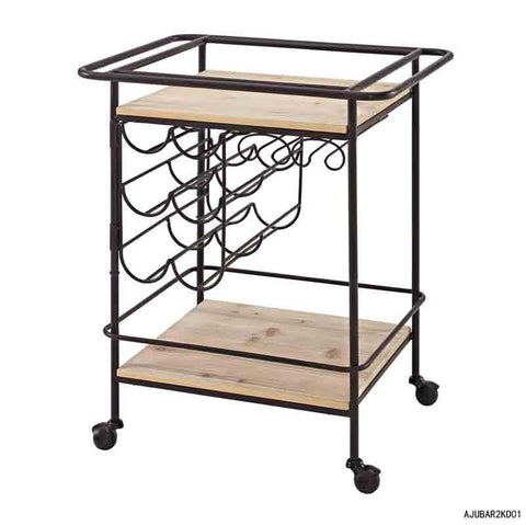 Linon AJUBAR2AS01 Metal And Wood Wine Bar Cart