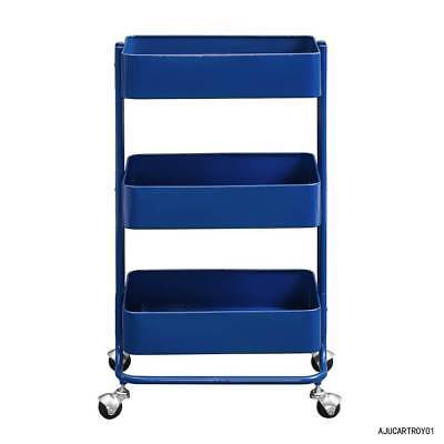 Linon AJUCARTROY01 Three Tier Royal Blue Cart