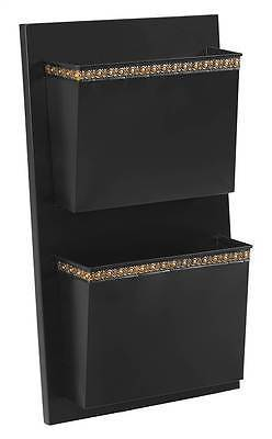 Linon ALW2DOTS01 Two Slot Black And Gold Dots Wall Mailbox