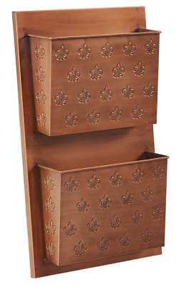 Linon ALW2FLUER01 Two Slot Copper Fleur-De-Lis Wall Mailbox