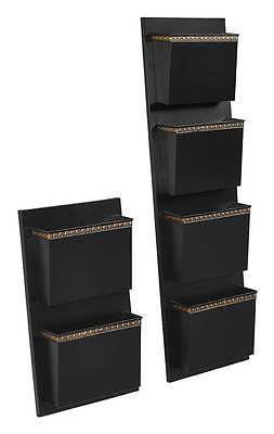 Linon ALW4DOTS01 Four Slot Black And Gold Dots Wall Mailbox