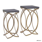 Linon  AMM2PCGLD01 Set Of Two Concrete Like Gold Nesting Tables