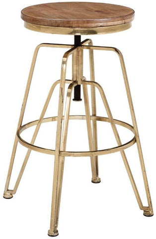 Linon AMMBRASS1AS Wood And Metal Adjustable Stool