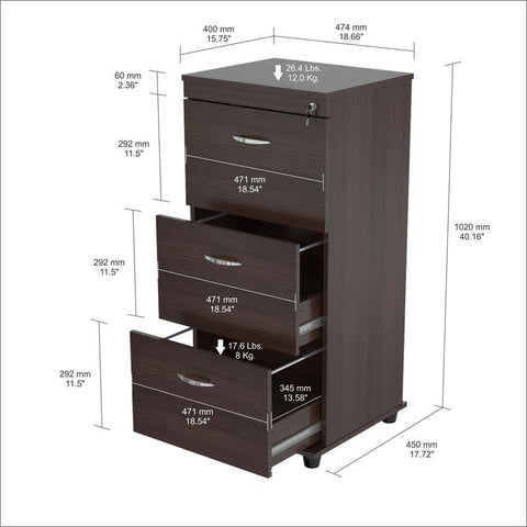 Inval America AR-3X3R Espresso-Wengue Finish Three Drawer File - Peazz.com - 1