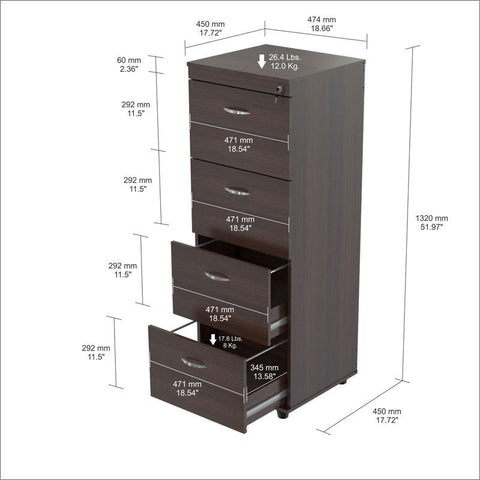 Inval America AR-4X4R Espresso-Wengue Finish 4 Drawer File Cabinet - Peazz.com - 1