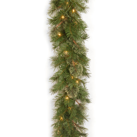 "National Tree AT7-300-9A-1 9' x 10"" Atlanta Spruce Garland with 50 Clear Lights"