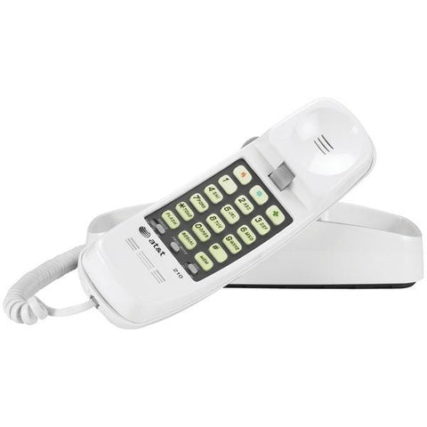 AT&T ATTML210W Corded Trimline Phone with Lighted Keypad (White) - Peazz.com