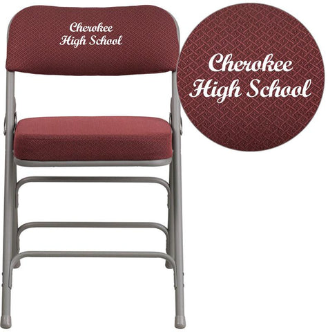 Flash Furniture AW-MC320AF-BG-EMB-GG Embroidered HERCULES Series Premium Curved Triple Braced & Double Hinged Burgundy Fabric Upholstered Metal Folding Chair - Peazz.com
