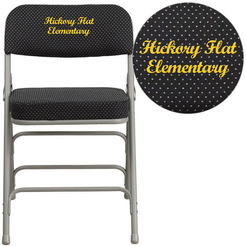 Flash Furniture AW-MC320AF-BK-EMB-GG Embroidered HERCULES Series Premium Curved Triple Braced & Double Hinged Black Pin-Dot Fabric Upholstered Metal Folding Chair - Peazz.com