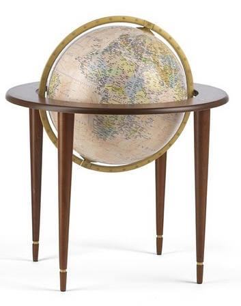 Zoffoli Globes USA art905-02 16 Inch Amerigo Vespucci Globe with Antique Ocean Globe
