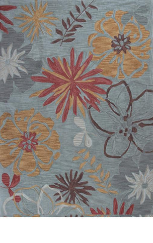 "KAS Rugs Anise 2415 Ocean Wildflowers Hand-Hooked 100% Space-dyed Polyester 7'9"" x 9'9"""