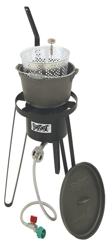 Bayou Classic Cast Iron Fry Pot, Cooker, 10 psi, Therm B159  Cooker