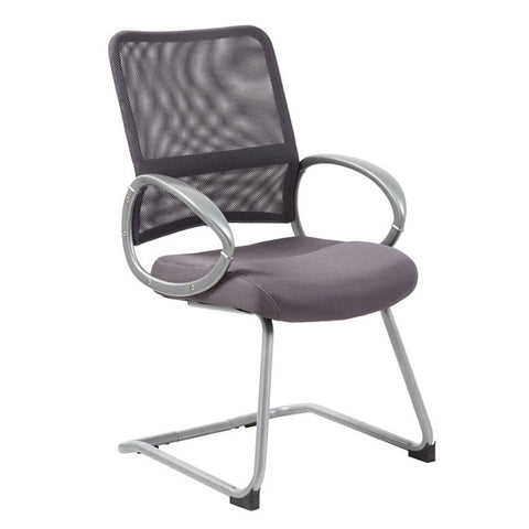 Boss Office Products B6419-CG Boss Mesh Back W/ Pewter Finish Guest Chair