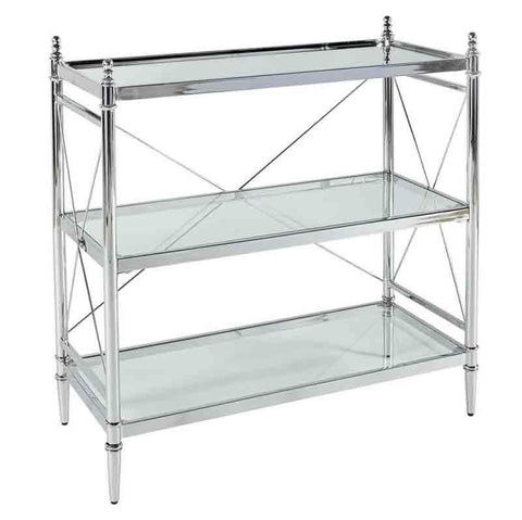 Linon BA002CHR01 Pinnacle Chrome And Glass Floor Console