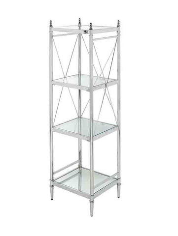 Linon BA004CHR01 Pinnacle Chrome And Glass Four Tier Shelf