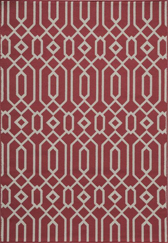 Momeni BAJA0BAJ-3RED860D EGYPTIAN MACHINE MADE Baja Collection Red Finish Rugs