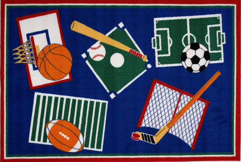 Fun Rugs BBB-001 3958 Fun Time Collection Sports A Rama Multi-Color - 39 x 58 in. - Peazz.com