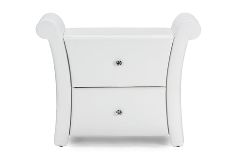 Baxton Studio BBT3111A1-White-NS Victoria Matte White PU Leather 2 Storage Drawers Nightstand Bedside Table