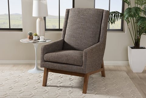 Baxton Studio BBT5253-Gravel-CC-TH1308 Aberdeen Mid-Century Modern Walnut Wood Finishing and Gravel Fabric Upholstered Lounge Chair