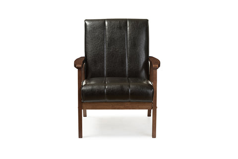 Baxton Studio BBT8011A2-Black Chair Nikko Mid-century Modern Scandinavian Style Black Faux Leather Wooden Lounge Chair