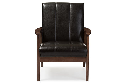 Baxton Studio BBT8011A2-Brown Chair Nikko Mid-century Modern Scandinavian Style Dark Brown Faux Leather Wooden Lounge Chair