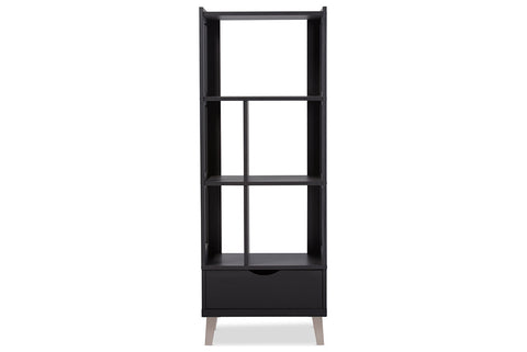 Baxton Studio BC-001-Espresso Kalien Modern and Contemporary Dark Brown Wood Leaning Bookcase with Display Shelves and One Drawer
