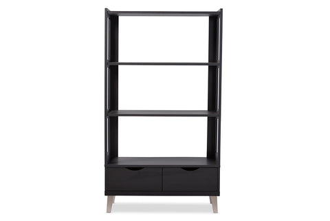 Baxton Studio BC-002-Espresso Kalien Modern and Contemporary Dark Brown Wood Leaning Bookcase with Display Shelves and Two Drawers