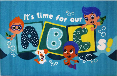 Fun Rugs BG-42 3958 Bubble Guppies Collection It's Time for our ABC's Multi-Color - 39 x 58 in. - Peazz.com