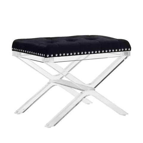 Linon BH079BLK01U Kelsi X Base Black Vanity Bench With Acrylic Legs