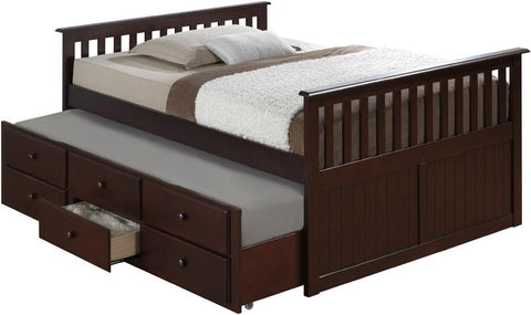 Broyhill Kids 09640-329 Marco Island Full Size Captain'S Bed W/Twin Trundle-Espresso (Kit) - Peazz.com