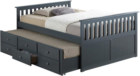 Broyhill Kids 09640-32G Marco Island Full Size Captain'S Bed W/Twin Trundle--Gray (Kit) - Peazz.com