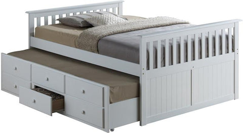Broyhill Kids 09640-321 Marco Island Full Size Captain'S Bed W/Twin Trundle--White (Kit) - Peazz.com