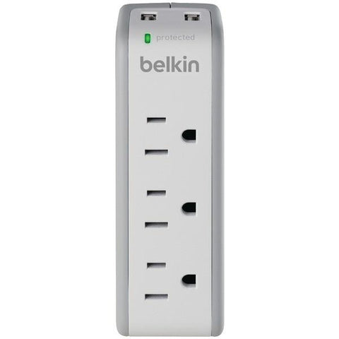Belkin BZ103050-TVL 3-Outlet Mini Surge Protector with 2 USB Ports - Peazz.com