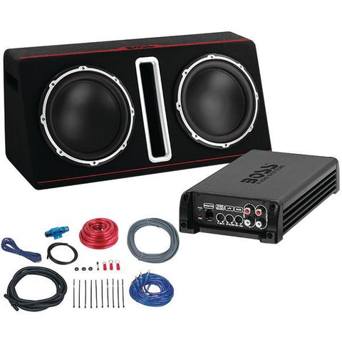 "BOSS Audio Systems BASS12DAPK 12"" Passive Loaded Enclosure with Amp & Amp Wiring Kit Party Pack (Dual, 1,600 Watts) - Peazz.com"