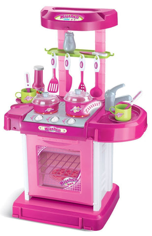 Berry Toys BR008-56 Play & Carry Plastic Play Kitchen - Pink - WarehouseSpot