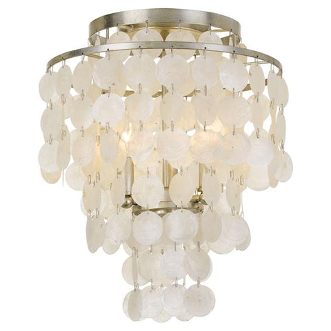 Crystorama Brielle 3 Light Antique Silver Ceiling Mount