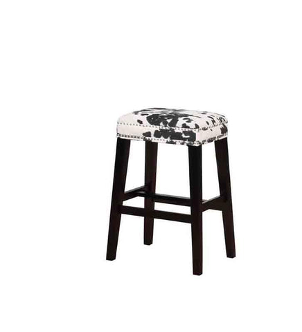Linon BS101COW01U Walt Black Cow Print Bar Stool