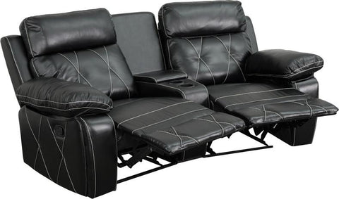 Flash Furniture BT-70530-2-BK-CV-GG Reel Comfort Series 2-Seat Reclining Black Leather Theater Seating Unit with Curved Cup Holders - Peazz.com - 1