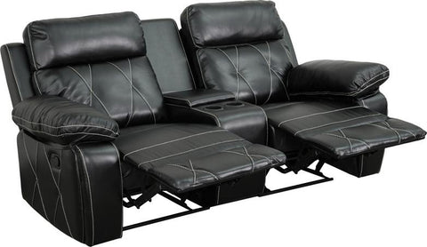 Flash Furniture BT-70530-2-BK-GG Reel Comfort Series 2-Seat Reclining Black Leather Theater Seating Unit with Straight Cup Holders - Peazz.com - 1