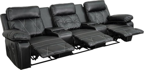 Flash Furniture BT-70530-3-BK-GG Reel Comfort Series 3-Seat Reclining Black Leather Theater Seating Unit with Straight Cup Holders - Peazz.com - 1