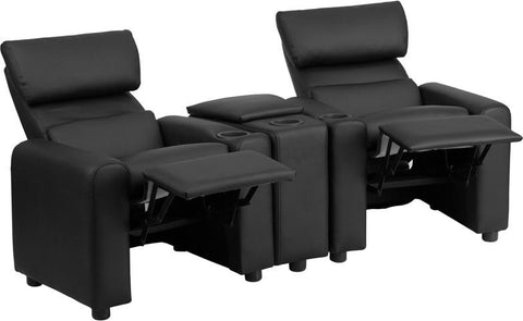 Flash Furniture BT-70592-BK-LEA-GG Kid's Black Leather Reclining Theater Seating with Storage Console - Peazz.com - 1